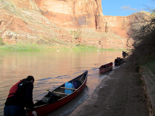 Walking the canoes upriver