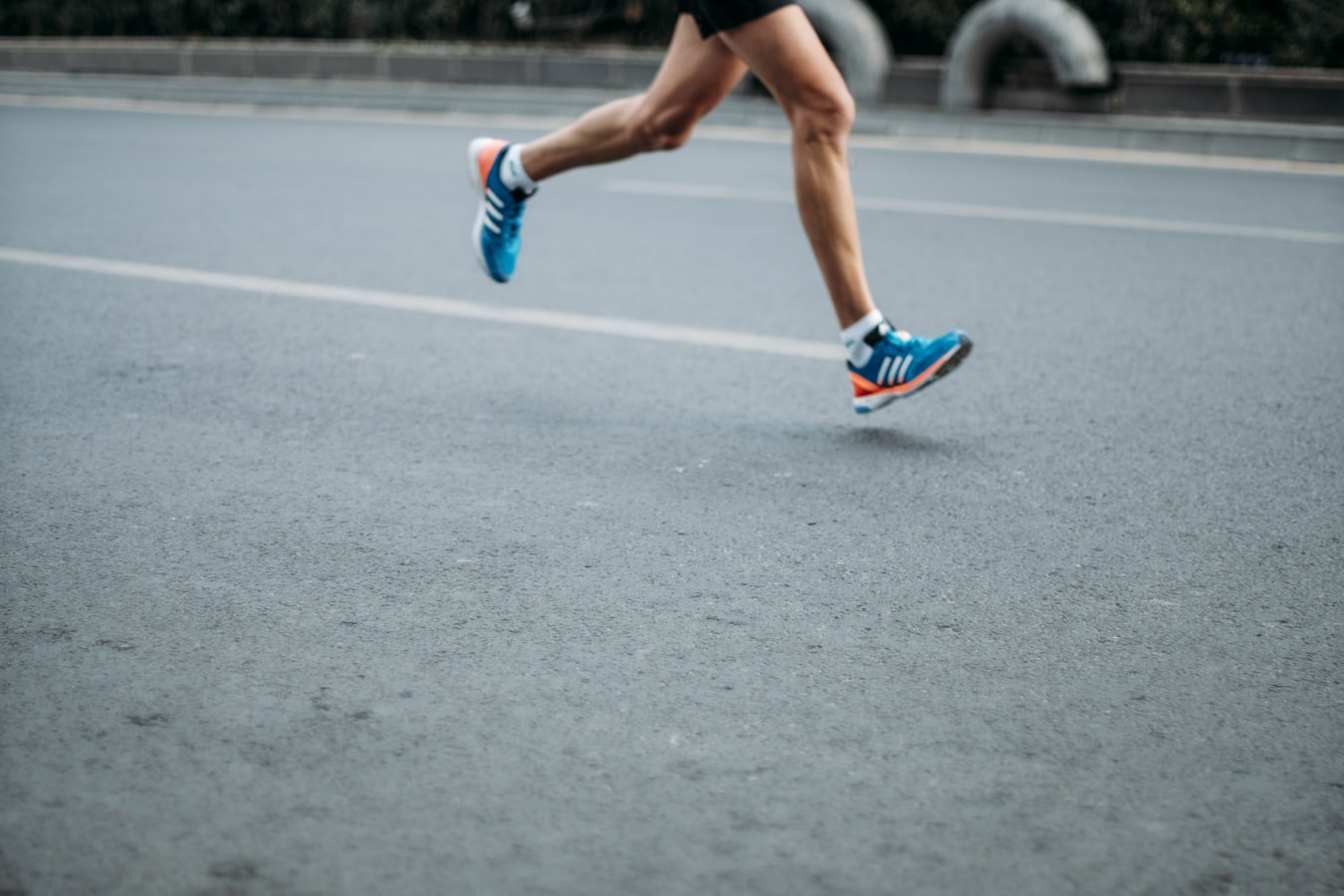 Runner training on the road.