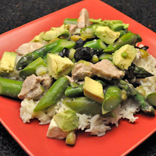Pork, Asparagus & Avocado on Basmati Recipe
