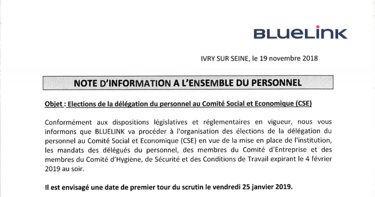 2018 11 19 NOTE D'INFORMATION BLUELINK POUR LES ELECTIONS ...