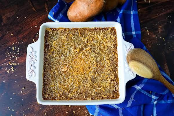 Sweet Potato Casserole Baked Until Golden Brown.