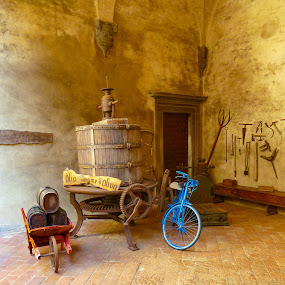 Castello Del Trebbio Winery by Norma Brandsberg - Buildings & Architecture Other Exteriors ( wine, building, old, press, tuscany, cellar, italian, wood, stone, historic, dusty, northern, florence, grape, dust, mortar, bottles, barrel, tuscan, italy, antique, winery,  )