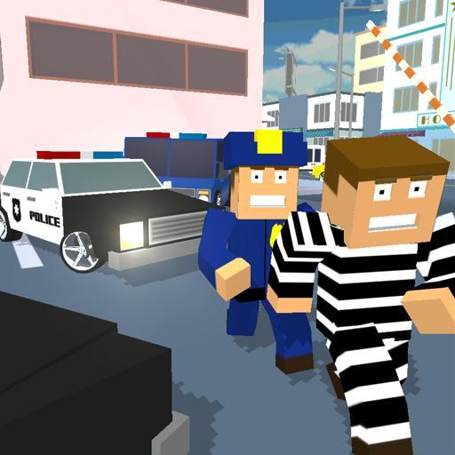 Blocky Cop Craft Running Thief