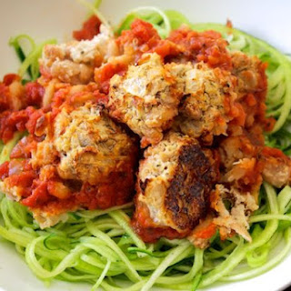 Zucchini Spaghetti and Beanballs