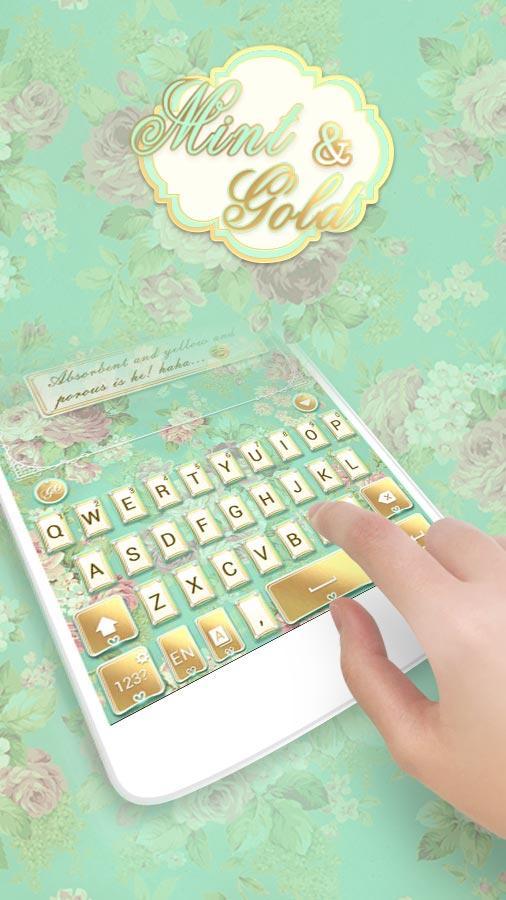 Mint Gold Go Keyboard Theme Screenshot