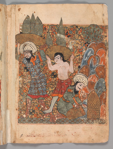 """The Man who Discovers the Treasure has it Carried Away by Hired Workmen"", Folio from a Kalila wa Dimna"
