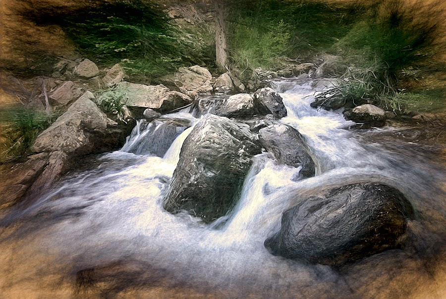 Mountain Stream by Todd Yoder - Landscapes Waterscapes ( water, stream, foliage, trees, rocks, filters, river,  )