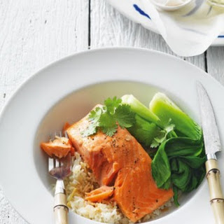 Steamed Salmon With Ginger Rice.