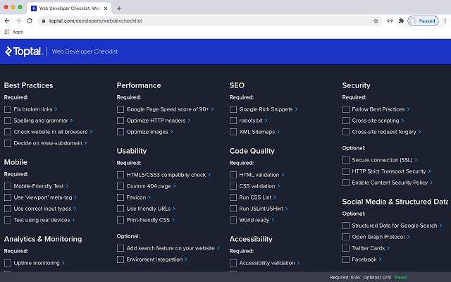Web Dev Checklist