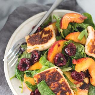 Peach, Cherry and Halloumi Salad.