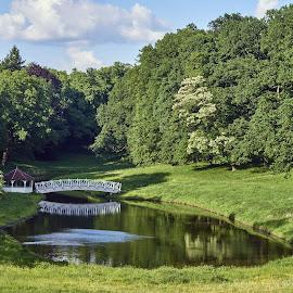 08. Pałac Hardtów w Wąsowie - park angielski by Marek Rosiński - City,  Street & Park  City Parks ( pond, nature, garden, clouds, trees, park )