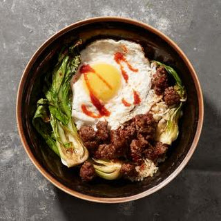 Minced Beef with Bok Choy and Fried Egg.