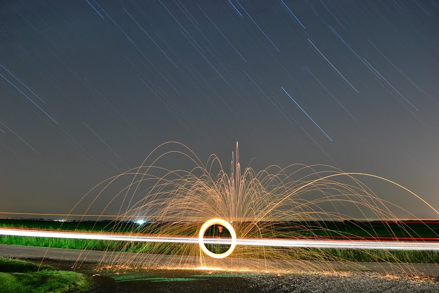 Steel Wool by Ethan Scholl - Abstract Fire & Fireworks ( car, stars, d3100, night, star trails, steel, nikon, sparks, wool )