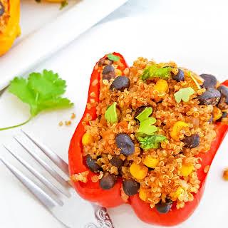 Mexican Black Bean & Quinoa Stuffed Peppers.