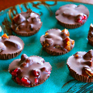 Dark Chocolate Fruit Candies with Pomegranates, Figs and Dates