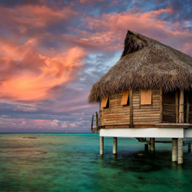 Tahitian colours by Rebecca Ramaley - Buildings & Architecture Other Exteriors ( pearl beach, tahiti, sunset, tikehau, rainbow, bungalow, overwater,  )