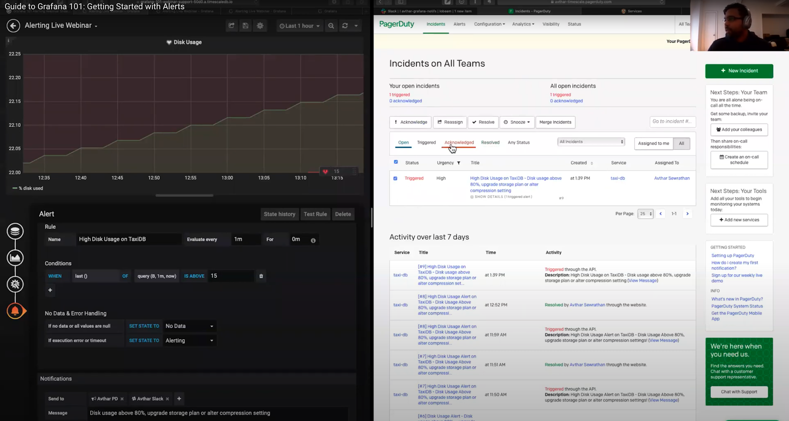 Grafana dashboard and PagerDuty incident screen side by side, showing an alert from Grafana sent to PagerDuty