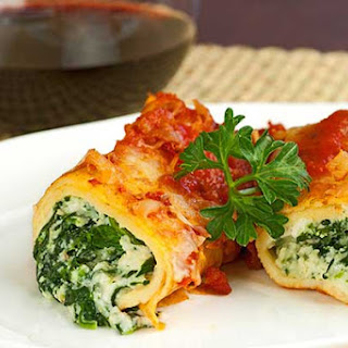 Spinach-Cheese Stuffed Crepes with Marinara.