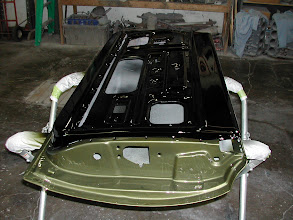 Photo: inside of the  69 road runner door, gloss black with the green out side