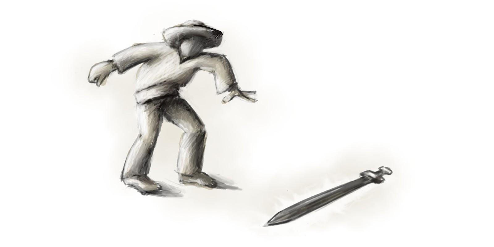 Hrdina našiel meč.