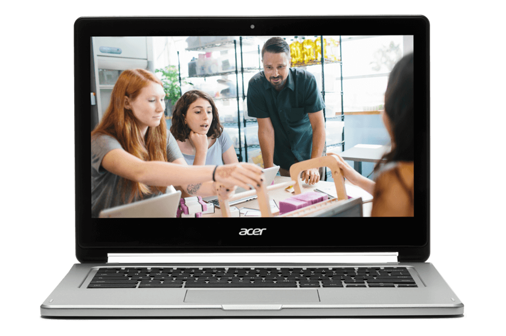 If 'Pencils down' means your class picks up something new You Chromebook. Image of a Chromebook showing kids and a teacher interacting with a device on their desk.