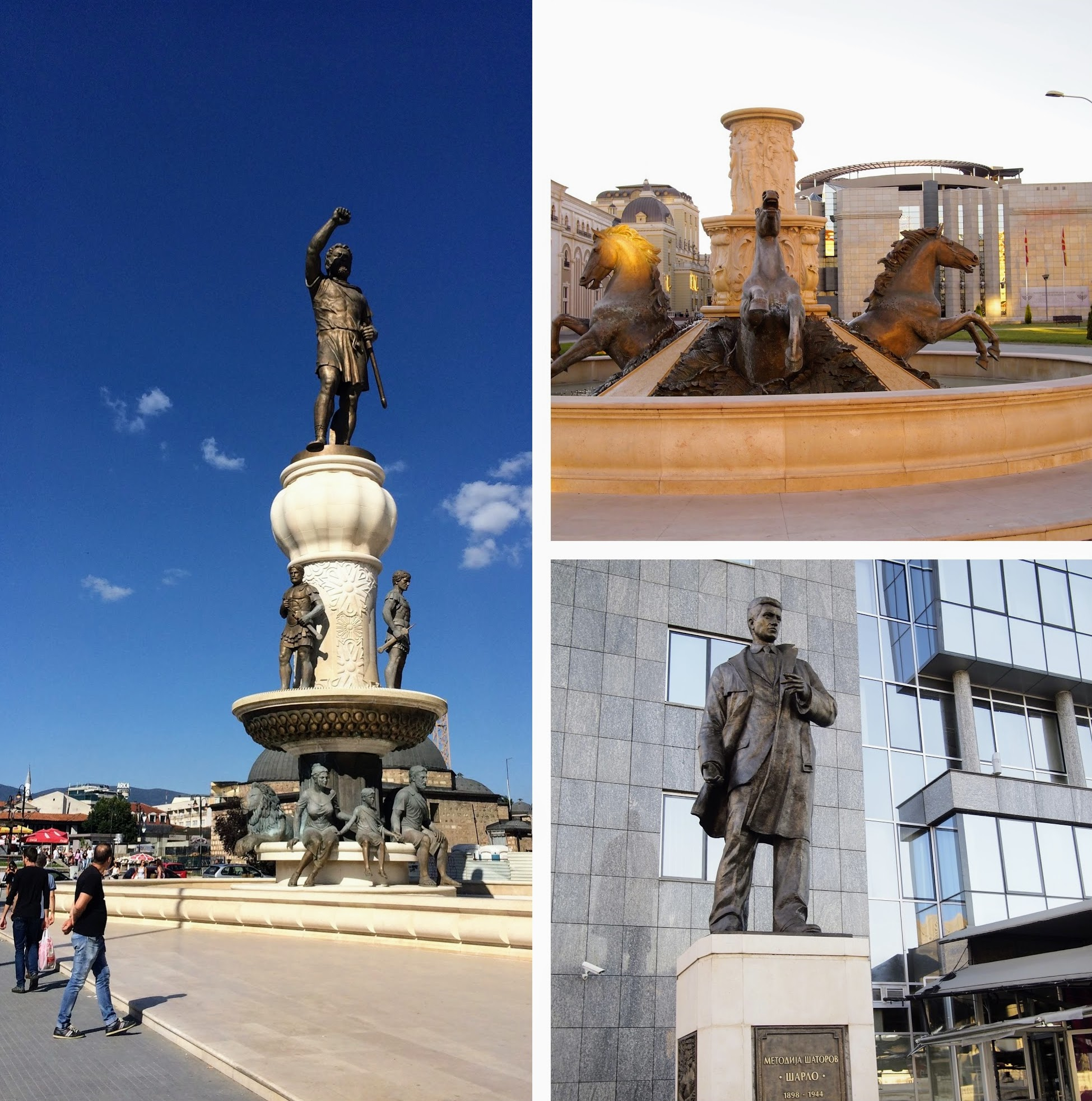Various statues in Macedonia capital