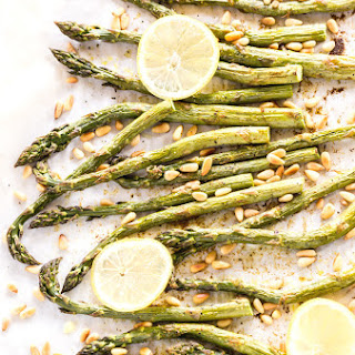 Curry Roasted Asparagus with Pine Nuts