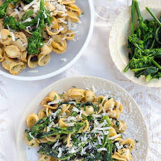Spring Pasta With Sprouting Broccoli And Black Garlic.