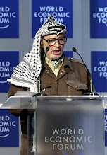 Photo: DAVOS/SWITZERLAND,28JAN01 - President of the Palestinian Authority Yasser Arafat addresses a session entitled 'From Peacemaking to Peacebuilding' at the Annual Meeting 2001 of the World Economic Forum in Davos, January 28, 2001. Arafat met with Minister of Regional Cooperation of Israel Shimon Peres. Byline: swiss-image.ch/Photo by Remy Steinegger NO RESALES, NO ARCHIVES