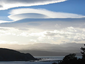 Photo: Wellington's harbour entrance and eastern hills with lenticular clouds - 8:16am, 8-Mar-05