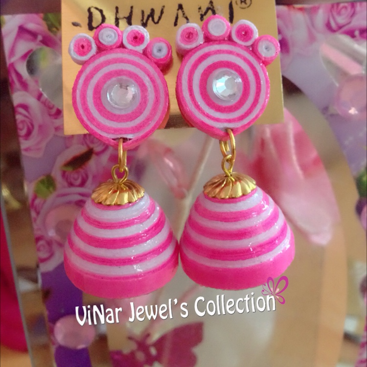 Pink and White stripes Quilling Earrings by Vinar Jewel