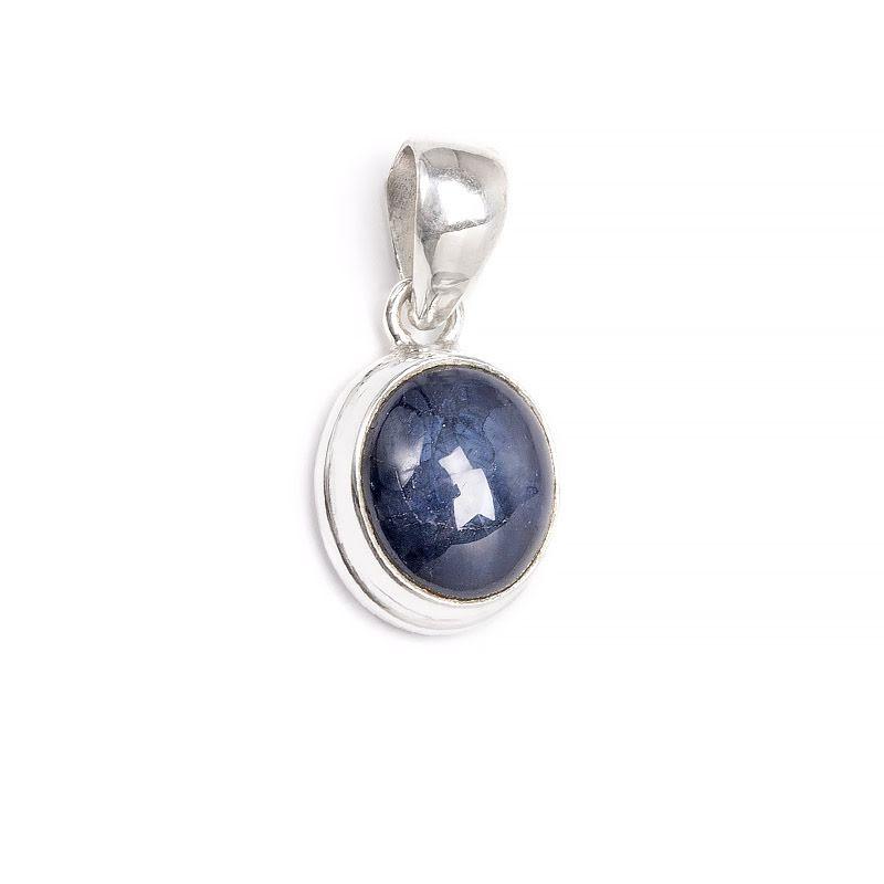 Stjärnsafir, ovalt hänge med slät silverinfattning
