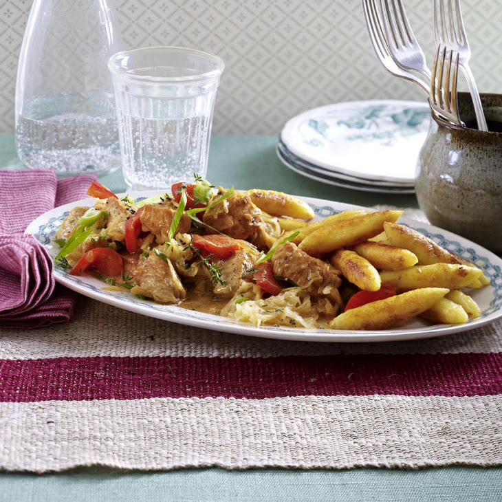Turkey and Sauerkraut Stew with Red Peppers