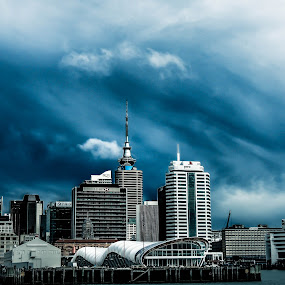 Auckland city blues by Jordan  Richardson - City,  Street & Park  Skylines ( architectures, explore, adventure, sky, blue, auckland, travel, storm, new zealand, city )