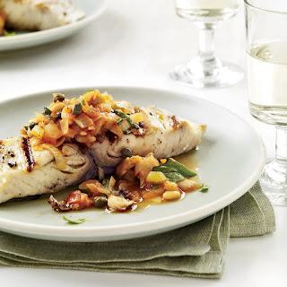 Grilled Fish with Artichoke Caponata.