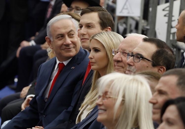 Israel's Prime Minister Benjamin Netanyahu (L), Senior White House Advisor Jared Kushner (C-R), US President's daughter Ivanka Trump (3rd R), US Treasury Secretary Steve Mnuchin (R) and Israel's President Reuven Rivlin (2nd R) attend the opening of the US embassy in Jerusalem on May 14, 2018.