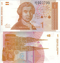 Photo: Ruggero Boscovich, 1 Croatian Dinar (1991). This note is now obsolete.