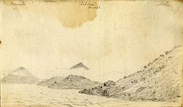 Photo: Pencil sketch of the following islands, from left to right: Ternate, Tidore, Mareh [Mare] and Motir [Moti] (all in the Moluccas, Indonesia) by Wallace in 18??. First published: Raby (2001). Scanned with permission from the Wallace family. Copyright of scan: A. R. Wallace Memorial Fund.