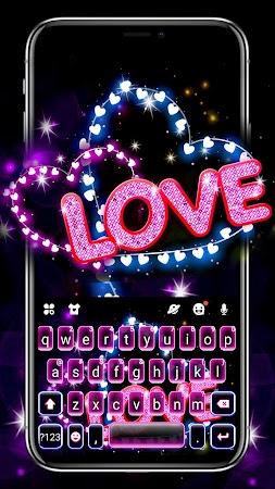 Neon Love Hearts Keyboard Theme