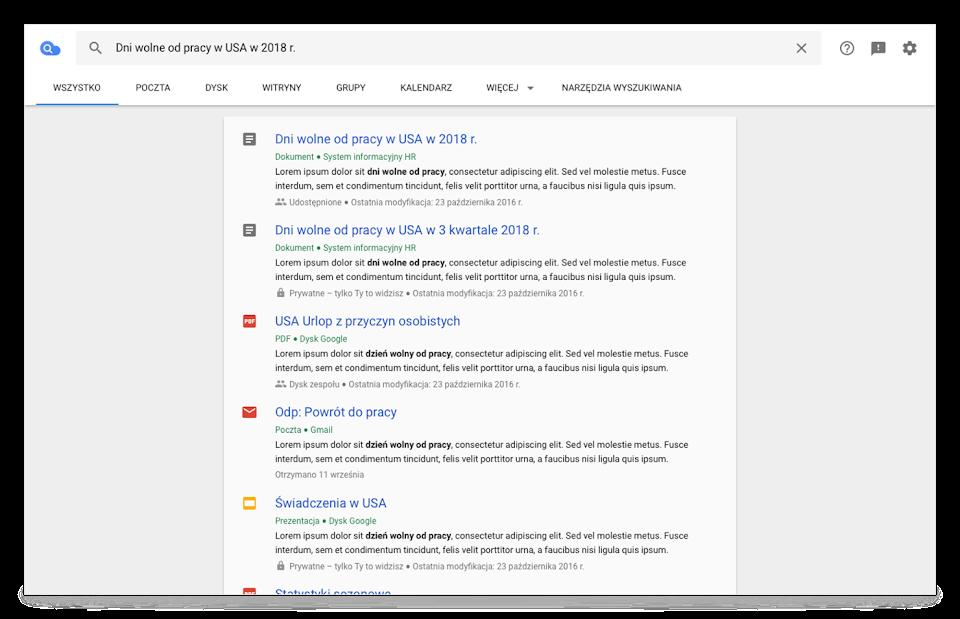 Widok przeglądarki wCloud Search