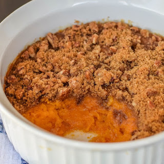 Baked Sweet Potato with Pecan Crumble Topping