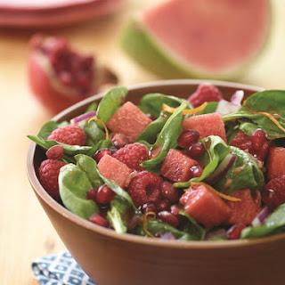 Watermelon Raspberry Spinach Salad with Pomegranate Vinaigrette.