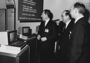"Photo: DAVOS/SWITZERLAND, JAN 1986 - (fltr) Jacques Delors, Kurt Furgler, Klaus Schwab captured during the Annual Meeting of the European Management Symposium, the predecessor of the World Economic Forum in Davos in 1986. Copyright <a href=""http://www.weforum.org"">World Economic Forum</a> (<a href=""http://www.weforum.org"">http://www.weforum.org</a>)"