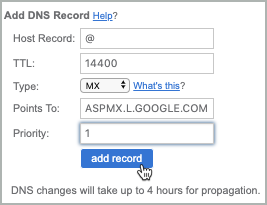 All fields of the MX record have been completed and the add record button is selected.