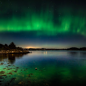 Nature's reflections by Steven Snoots - Uncategorized All Uncategorized ( fjord sea northern lights aurora auroraborealis )