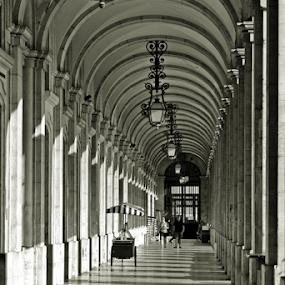 Shadows by Sorin Rizu - Black & White Buildings & Architecture ( building, black and white, architectural detail, travel, lisboa, shadows, city,  )