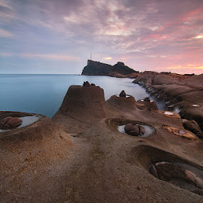 Earth Craters by Dinno Sandoval - Landscapes Travel ( yehliu geopark taiwan landscape sunrise circle geography, circle, pwc79 )