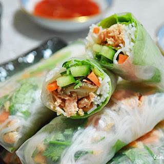 Vietnamese Spring Rolls with Salmon and Shiitake.