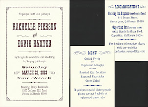 Photo: Close-ups of Rachelle & David's invitation and double-sided insert card. Types: 18 pt. Pacific, 48 pt. Thunderbird Extra Condensed, 12 pt. Antique Wide, 30 pt. Playbill, 14 & 18 pt. P. T. Barnum, and 8 pt. French Clarendon Extended. Plus, lots of penline flourishes, dashes, and dingbats.
