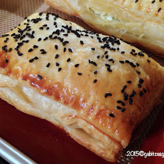 Romanian Pastries with Feta Cheese and Black Caraway Seeds.